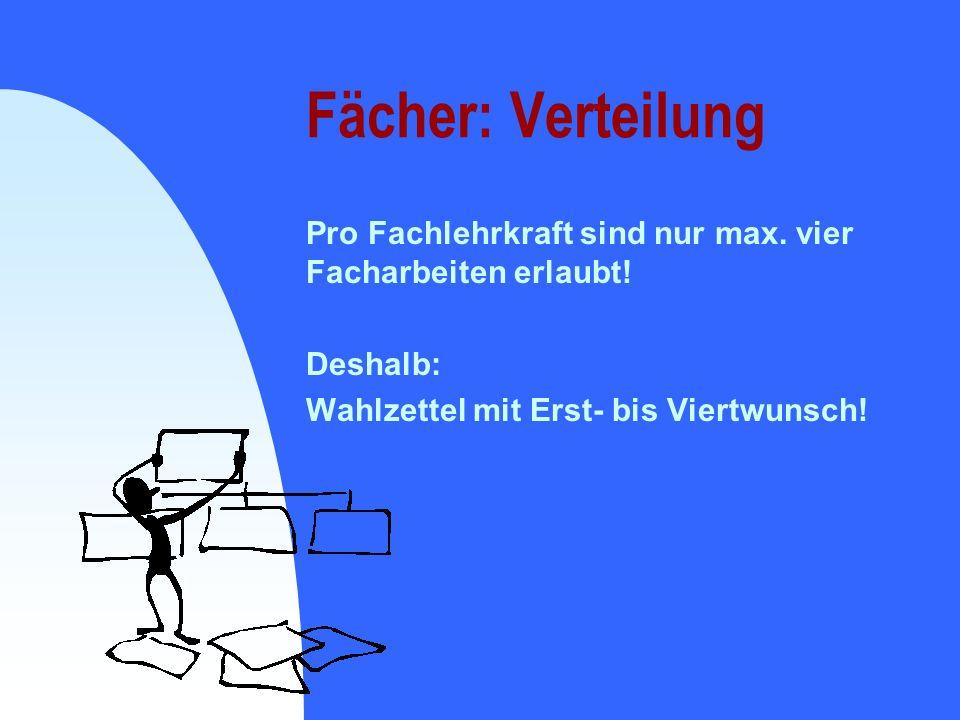 Fächer: Verteilung Pro Fachlehrkraft sind nur max. vier Facharbeiten erlaubt! Deshalb: Wahlzettel mit Erst- bis Viertwunsch!