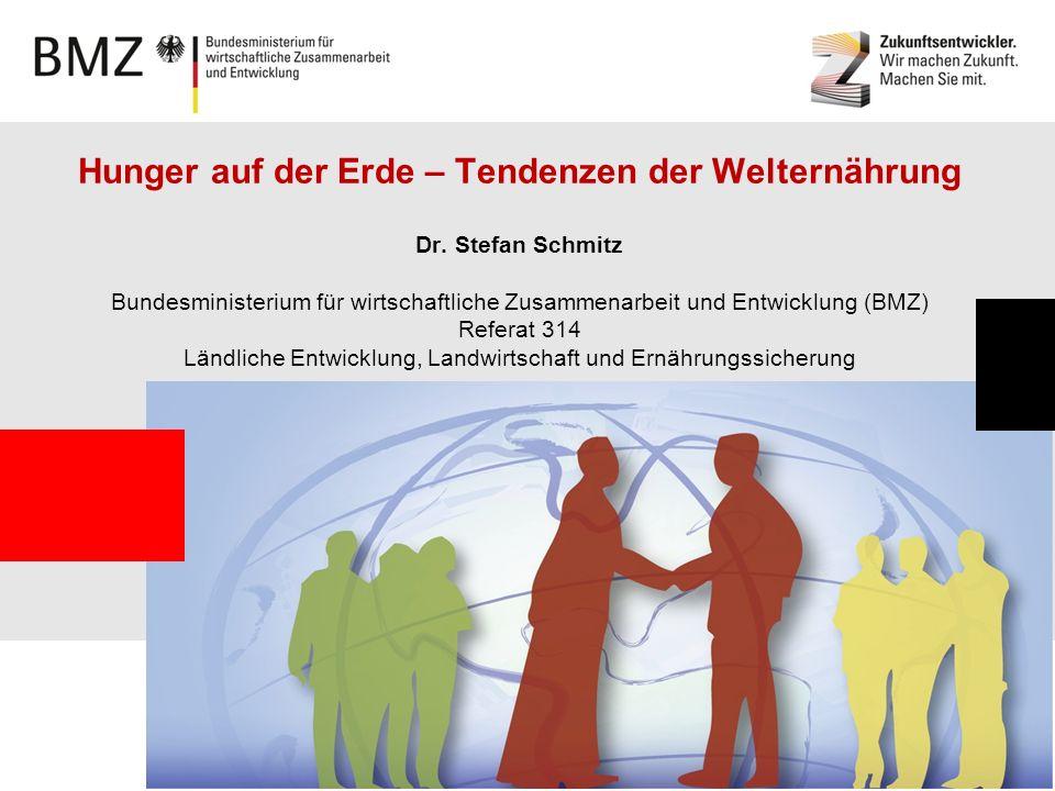 Page 1 Hunger auf der Erde – Tendenzen der Welternährung Dr. Stefan Schmitz Bundesministerium für wirtschaftliche Zusammenarbeit und Entwicklung (BMZ)