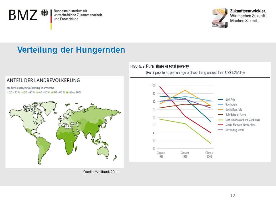Page 12 Verteilung der Hungernden Quelle: Weltbank 2011 12