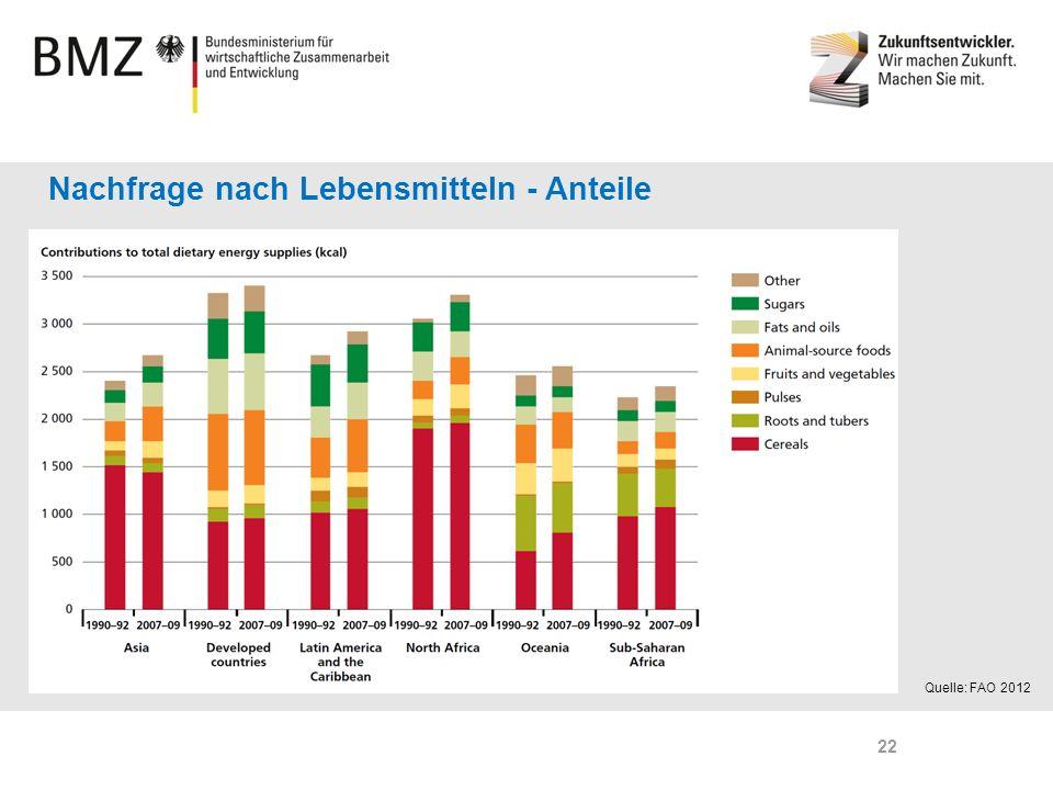 Page 22 Nachfrage nach Lebensmitteln - Anteile Quelle: FAO 2012 22