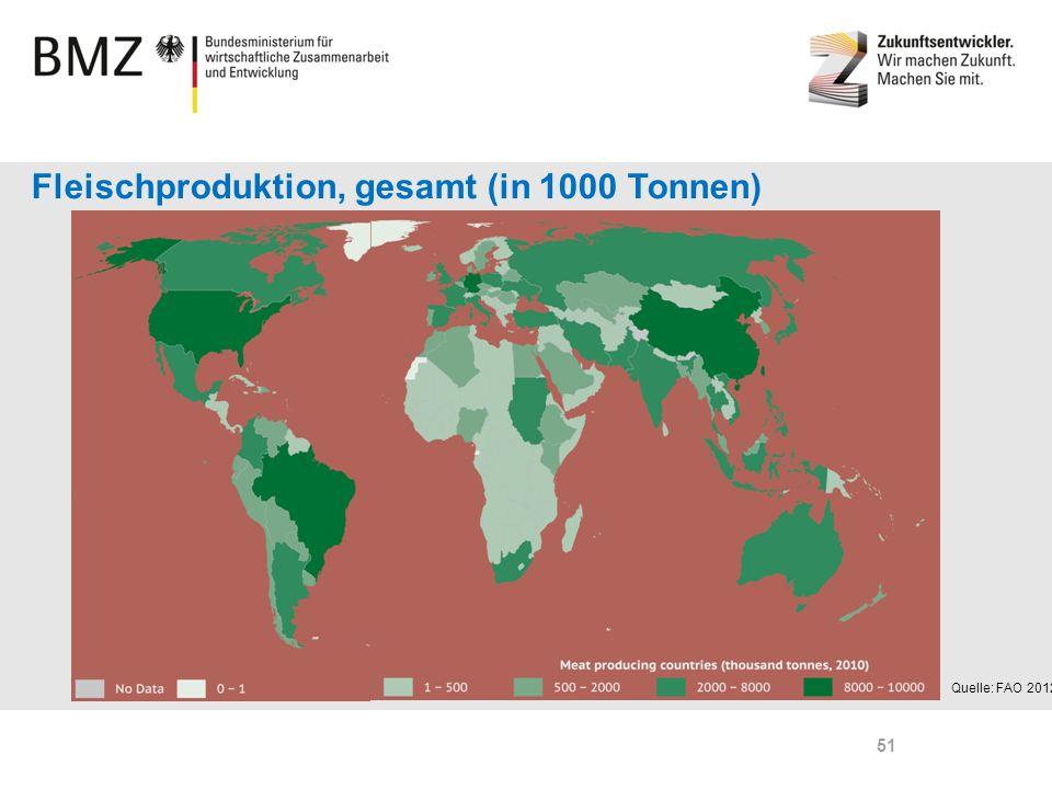 Page 51 Fleischproduktion, gesamt (in 1000 Tonnen) Quelle: FAO 2012 51