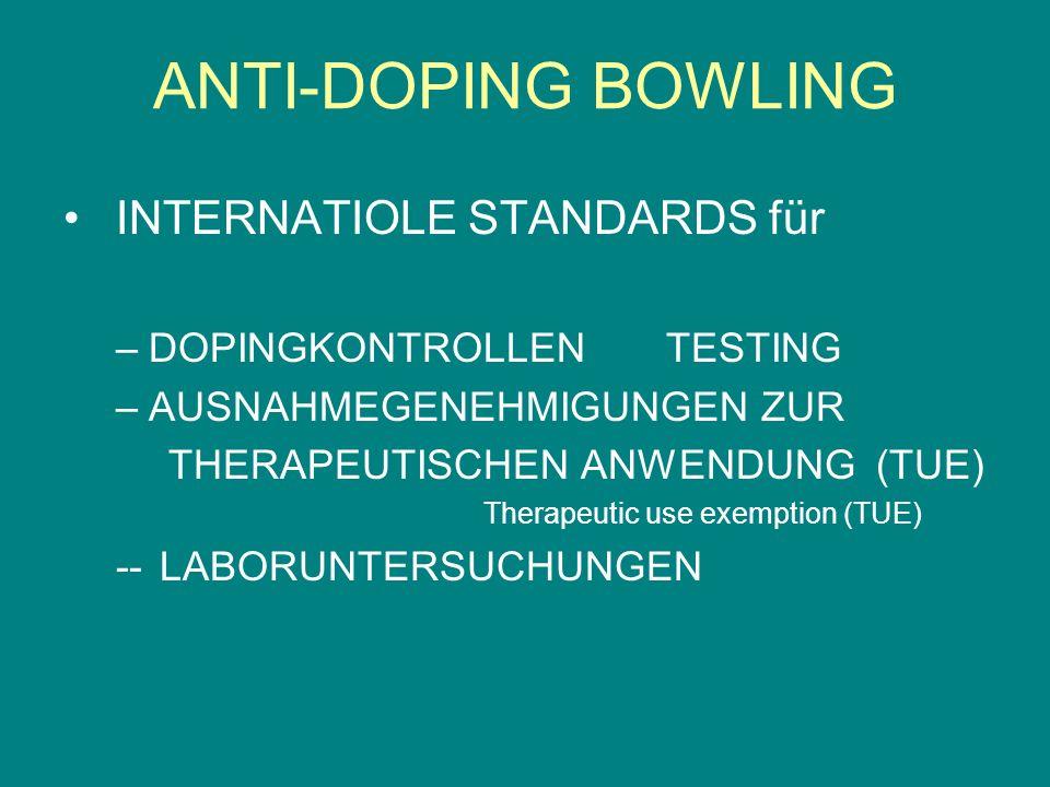 INTERNATIOLE STANDARDS für –DOPINGKONTROLLEN TESTING –AUSNAHMEGENEHMIGUNGEN ZUR THERAPEUTISCHEN ANWENDUNG (TUE) Therapeutic use exemption (TUE) -- LAB