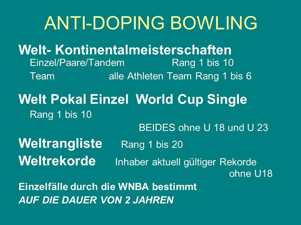Welt- Kontinentalmeisterschaften Einzel/Paare/Tandem Rang 1 bis 10 Teamalle Athleten Team Rang 1 bis 6 Welt Pokal Einzel World Cup Single Rang 1 bis 1
