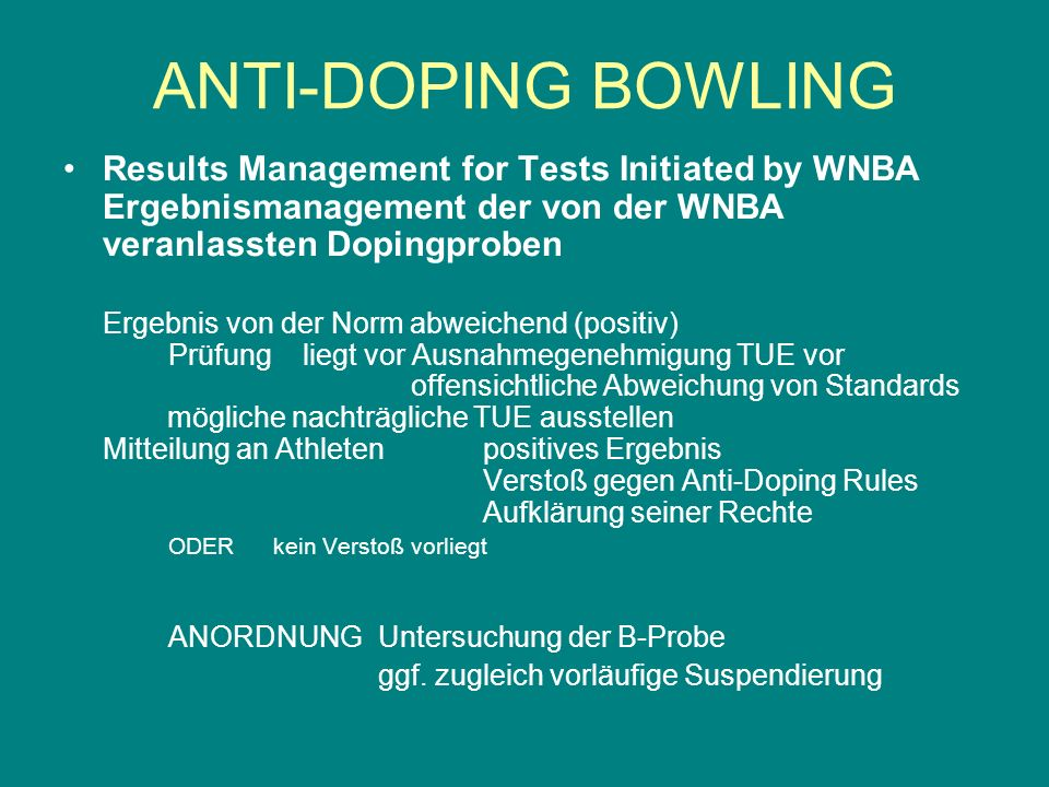 Results Management for Tests Initiated by WNBA Ergebnismanagement der von der WNBA veranlassten Dopingproben Ergebnis von der Norm abweichend (positiv