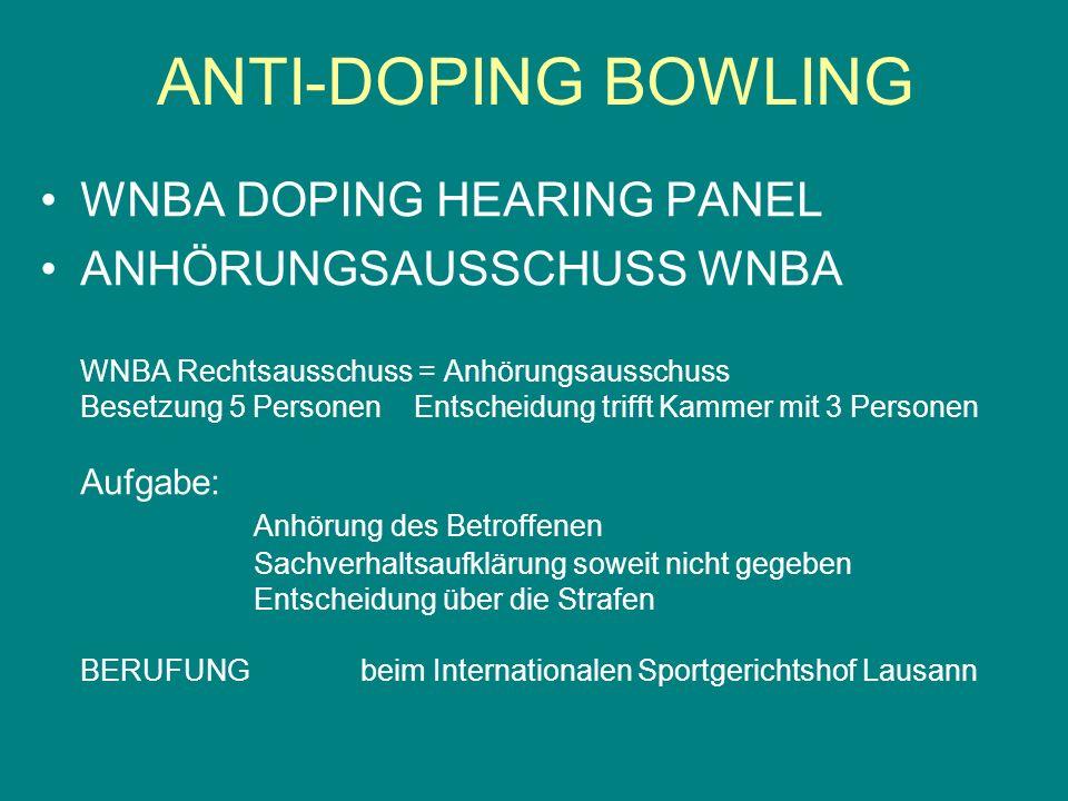 WNBA DOPING HEARING PANEL ANHÖRUNGSAUSSCHUSS WNBA WNBA Rechtsausschuss = Anhörungsausschuss Besetzung 5 Personen Entscheidung trifft Kammer mit 3 Pers