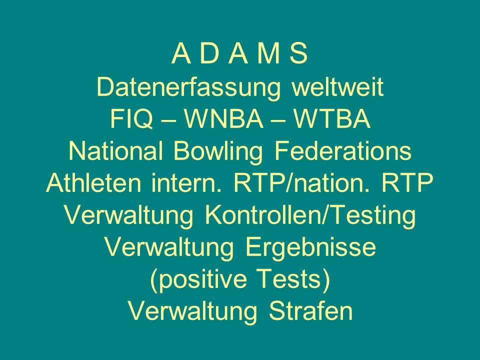 A D A M S Datenerfassung weltweit FIQ – WNBA – WTBA National Bowling Federations Athleten intern. RTP/nation. RTP Verwaltung Kontrollen/Testing Verwal