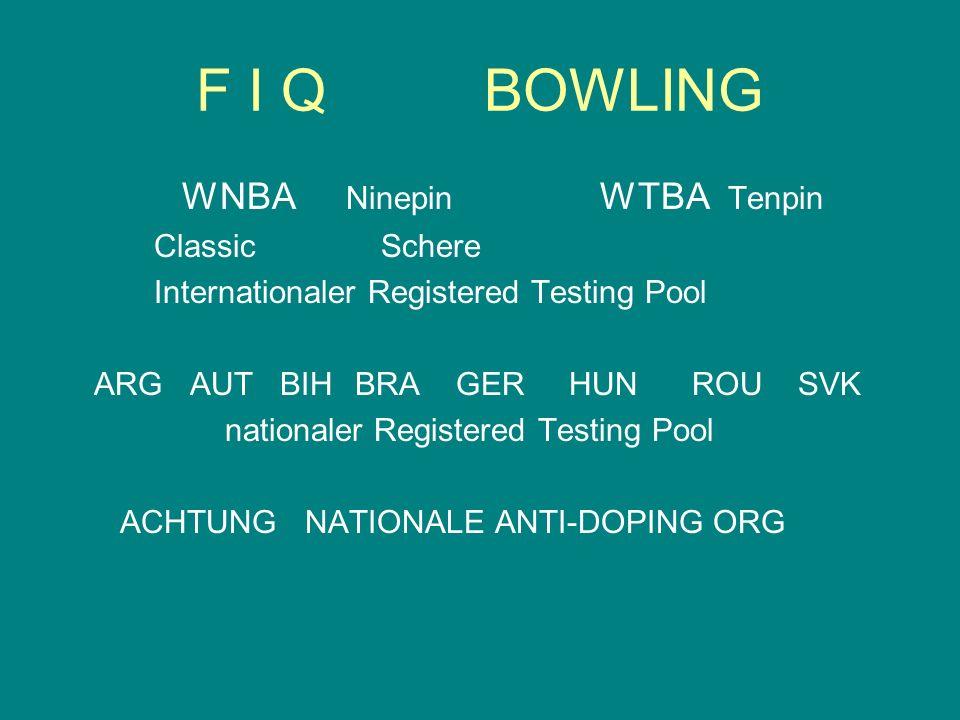 F I QBOWLING WNBA Ninepin WTBA Tenpin Classic Schere Internationaler Registered Testing Pool ARG AUT BIH BRA GER HUN ROU SVK nationaler Registered Tes