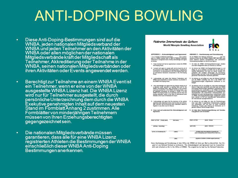 INTERNATIOLE STANDARDS für –DOPINGKONTROLLEN TESTING –AUSNAHMEGENEHMIGUNGEN ZUR THERAPEUTISCHEN ANWENDUNG (TUE) Therapeutic use exemption (TUE) -- LABORUNTERSUCHUNGEN ANTI-DOPING BOWLING