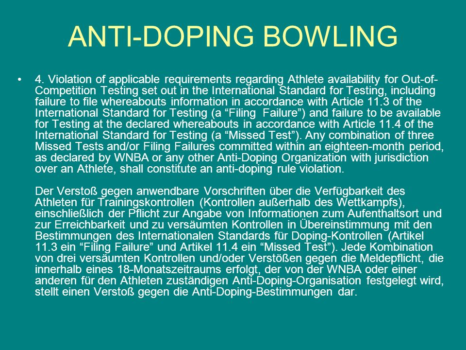 5.Tampering or Attempted Tampering with any part of Doping Control.
