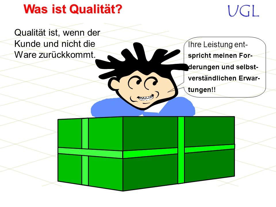 UGL Was ist Qualität? InterneKunden- Lieferantenbeziehung Kunde Lieferant Kunde In einer Firma ist jeder malKunde und malLieferant !!