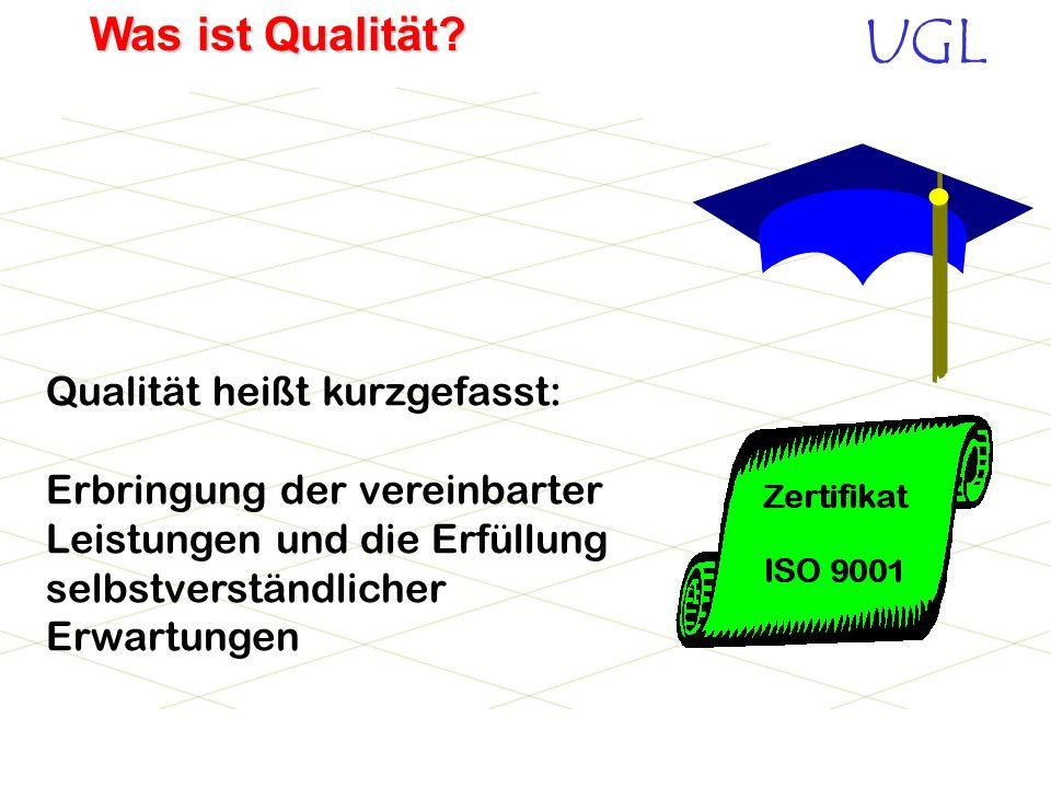 UGL Was ist Qualität? Ihre Leistung ent- spricht meinen For- derungen und selbst- verständlichen Erwar- tungen!! Qualität ist, wenn der Kunde und nich