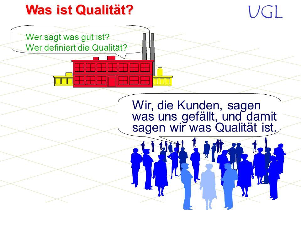 UGL Was ist Qualität? Qualität heißt kurzgefasst: Erbringung der vereinbarter Leistungen und die Erfüllung selbstverständlicher Erwartungen