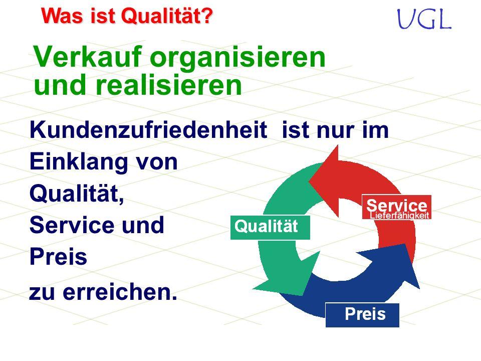UGL Was ist Qualität? Die DIN ISO 8402 definiert Qualität mit: Die Gesamtheit von Merkmalen einer Einheit bezüglich ihrer Eignung, festgelegte und vor