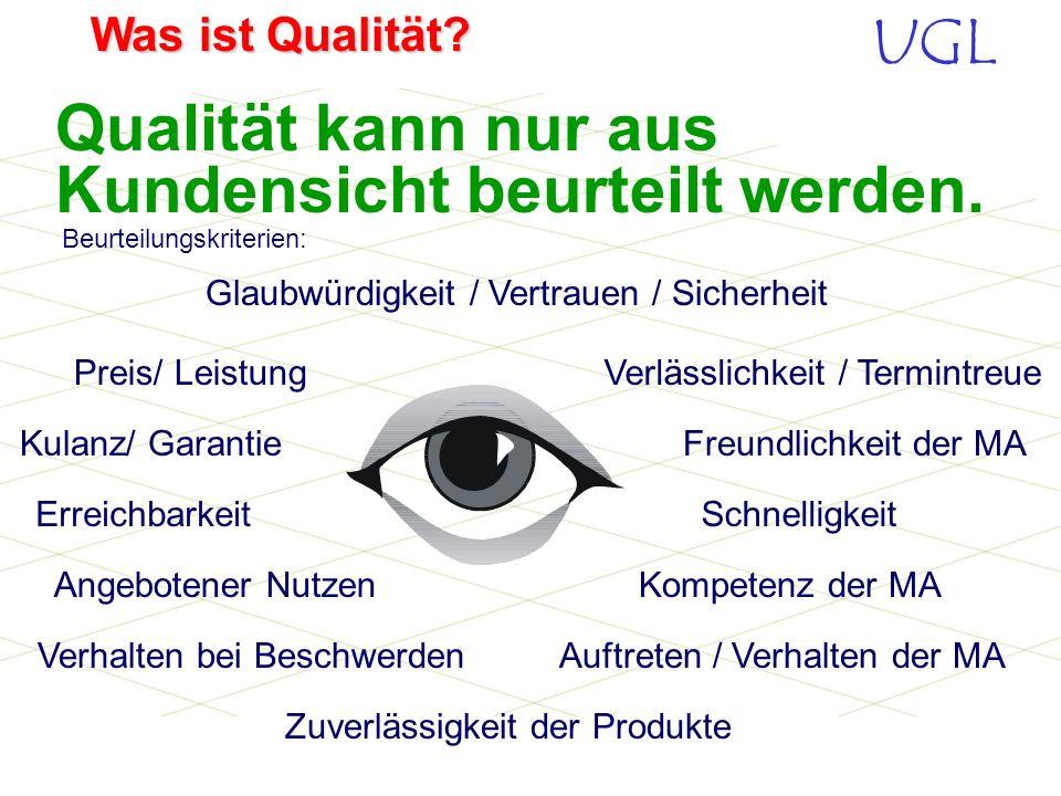 UGL Was ist Qualität? Verkauf organisieren und realisieren Kundenzufriedenheit ist nur im Einklang von Qualität, Service und Preis zu erreichen. Liefe