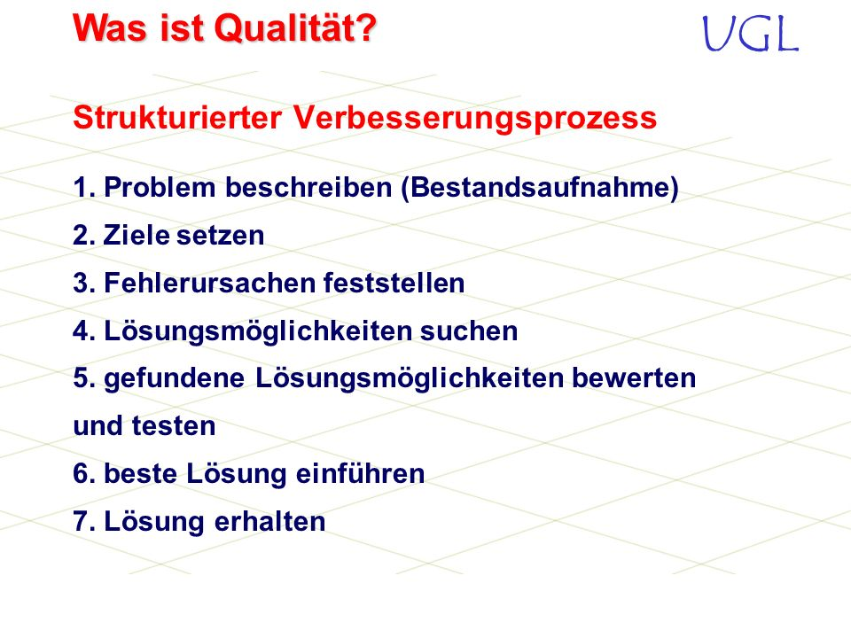 UGL Was ist Qualität? Beteiligung aller Führungskräfte Beteiligung u. höhere Motivation aller Mitarbeiter Stärkere Kunden- u. Marktorientierung aller