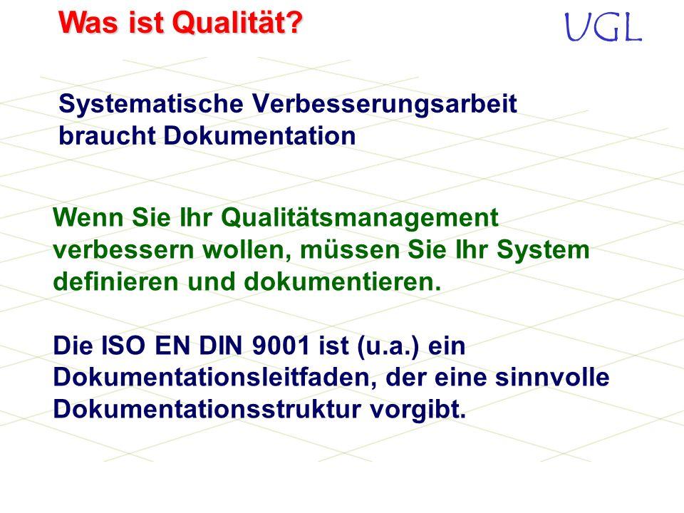 UGL Was ist Qualität? 1. Problem beschreiben (Bestandsaufnahme) 2. Ziele setzen 3. Fehlerursachen feststellen 4. Lösungsmöglichkeiten suchen 5. gefund