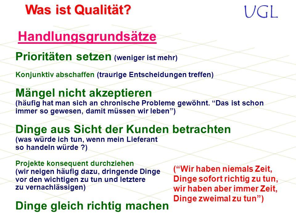 UGL Was ist Qualität? Wenn Sie Ihr Qualitätsmanagement verbessern wollen, müssen Sie Ihr System definieren und dokumentieren. Die ISO EN DIN 9001 ist
