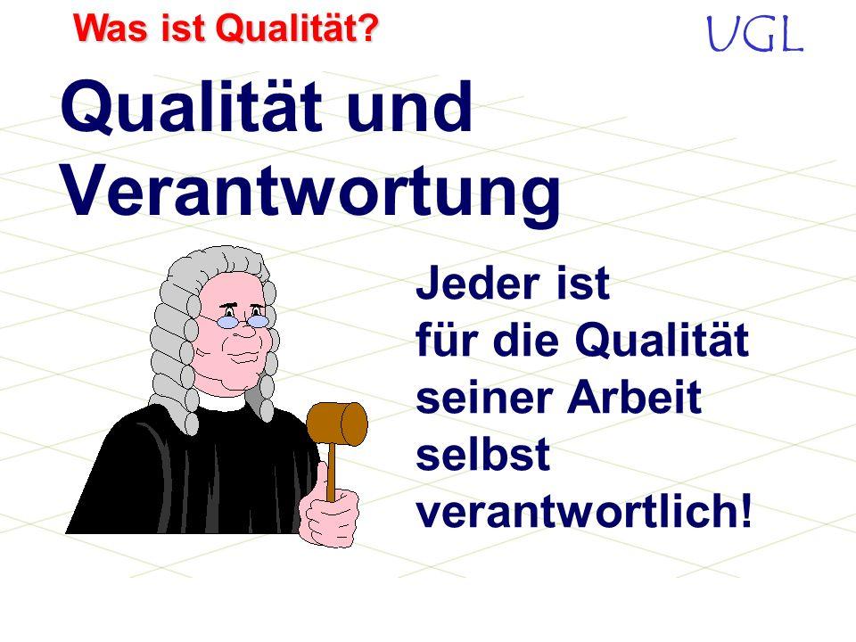 UGL Was ist Qualität? Die Mentalität eines Unternehmens bestimmt den Erfolg, nicht die allgemeine Lage. Josef Schmidt