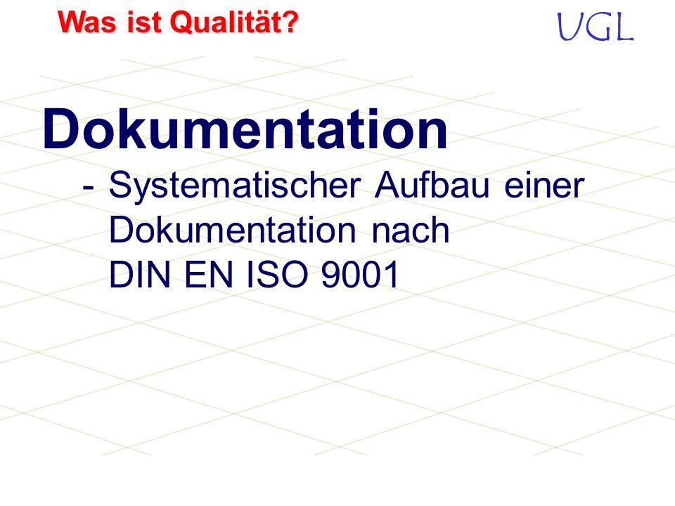 UGL Was ist Qualität? 1. Grundsätzliche Haltung klären Beschreibung im QM-Handbuch 2. Vorgehensweise beschreiben Verfahrensanweisung erstellen 3. Arbe