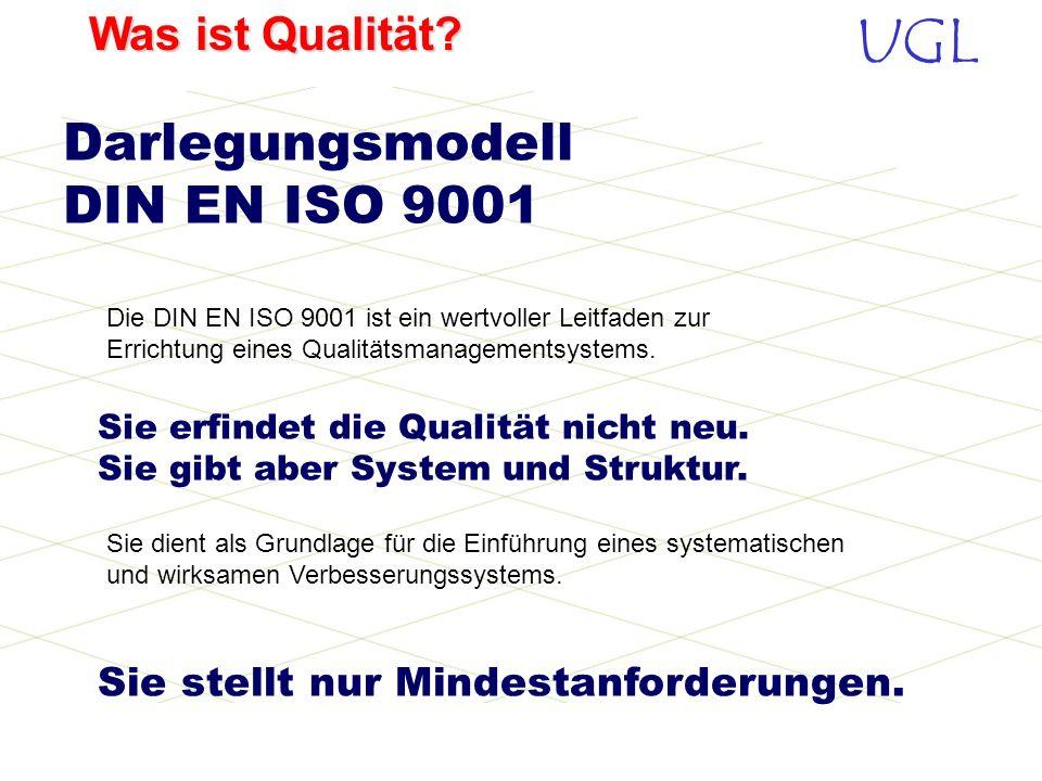 UGL Was ist Qualität? Dokumentation - Systematischer Aufbau einer Dokumentation nach DIN EN ISO 9001