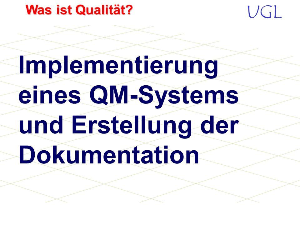 UGL Was ist Qualität? 0 Vorwort 1 Verantwortung der Leitung 1.1 Unternehmenspolitik 1.2 Unternehmensplanung und -ziele 1.3 Kundenbedürfnisse und –anfo