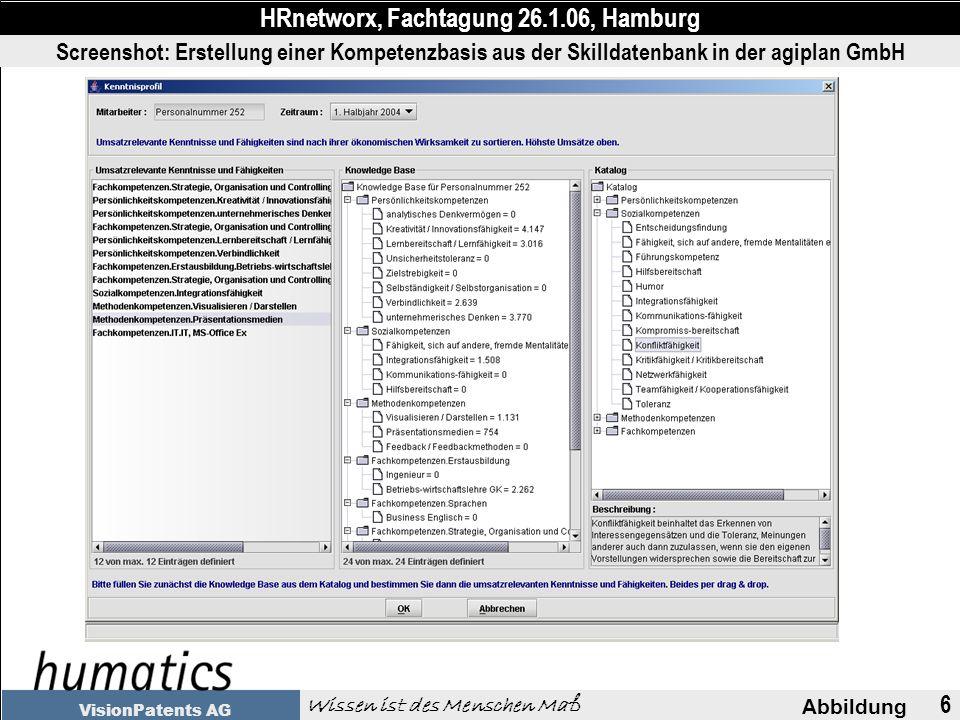 6 Abbildung HRnetworx, Fachtagung 26.1.06, Hamburg Wissen ist des Menschen Maß VisionPatents AG Screenshot: Erstellung einer Kompetenzbasis aus der Skilldatenbank in der agiplan GmbH