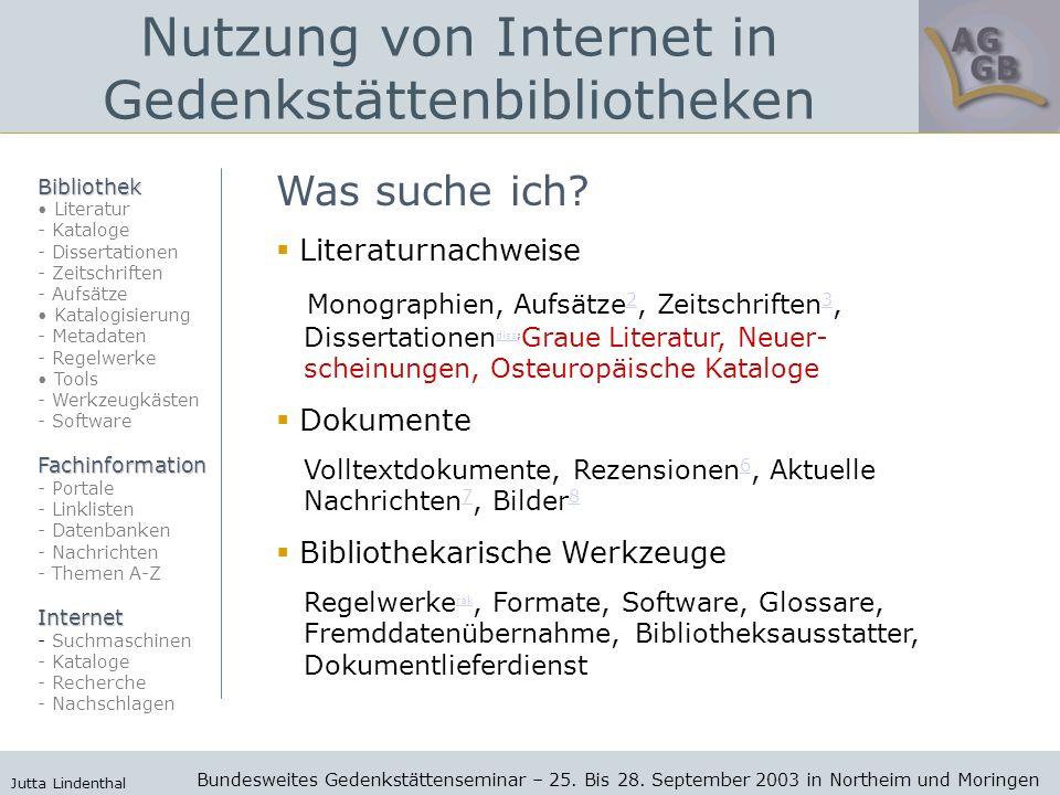 Nutzung von Internet in Gedenkstättenbibliotheken Bundesweites Gedenkstättenseminar – 25.