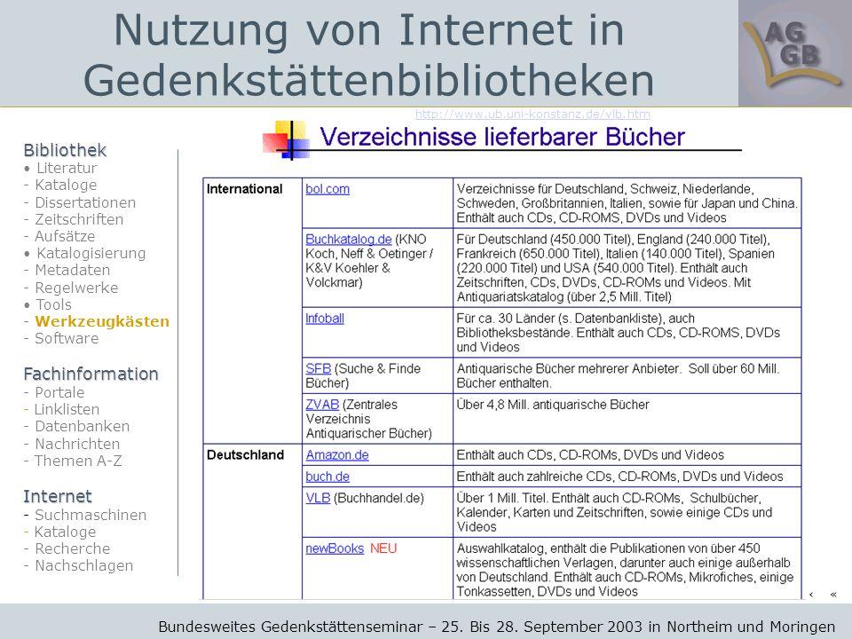 http://www.ub.uni-konstanz.de/vlb.htm Bundesweites Gedenkstättenseminar – 25.