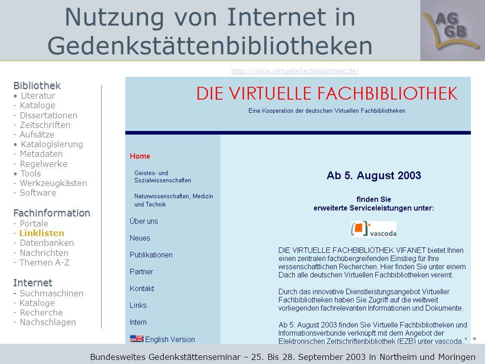 http://www.virtuellefachbibliothek.de/ Bundesweites Gedenkstättenseminar – 25.