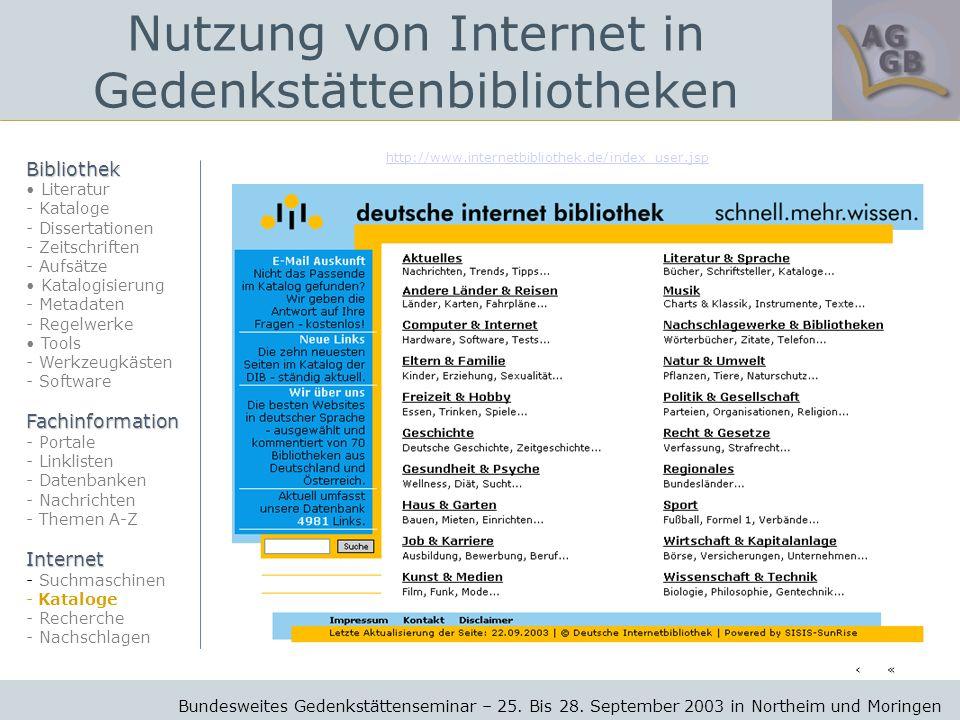 http://www.internetbibliothek.de/index_user.jsp Bundesweites Gedenkstättenseminar – 25.