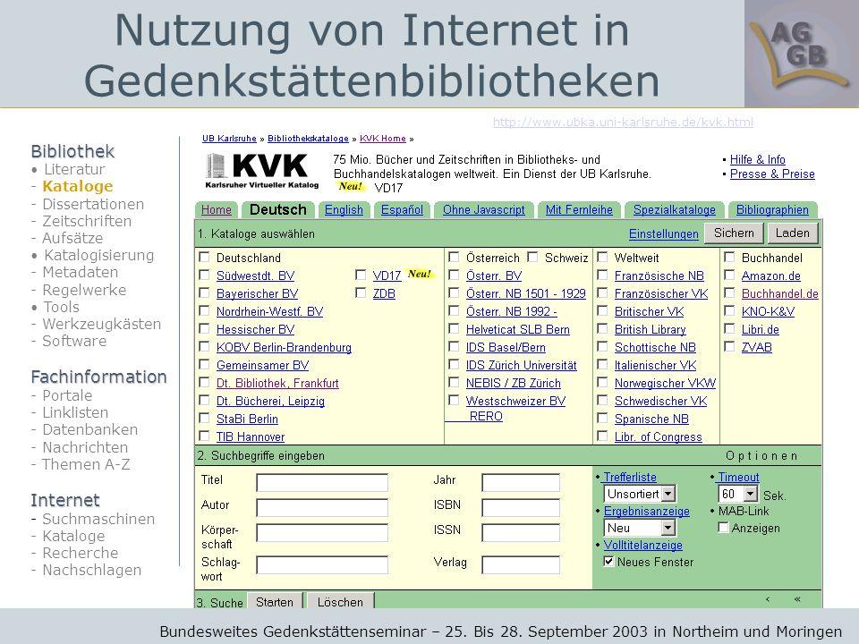 http://www.ubka.uni-karlsruhe.de/kvk.html Bundesweites Gedenkstättenseminar – 25.