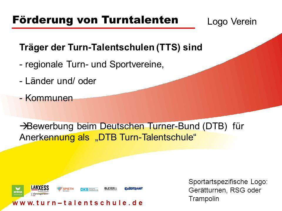 Förderung von Turntalenten Logo Verein Sportartspezifische Logo: Gerätturnen, RSG oder Trampolin w w w. t u r n – t a l e n t s c h u l e. d e Träger