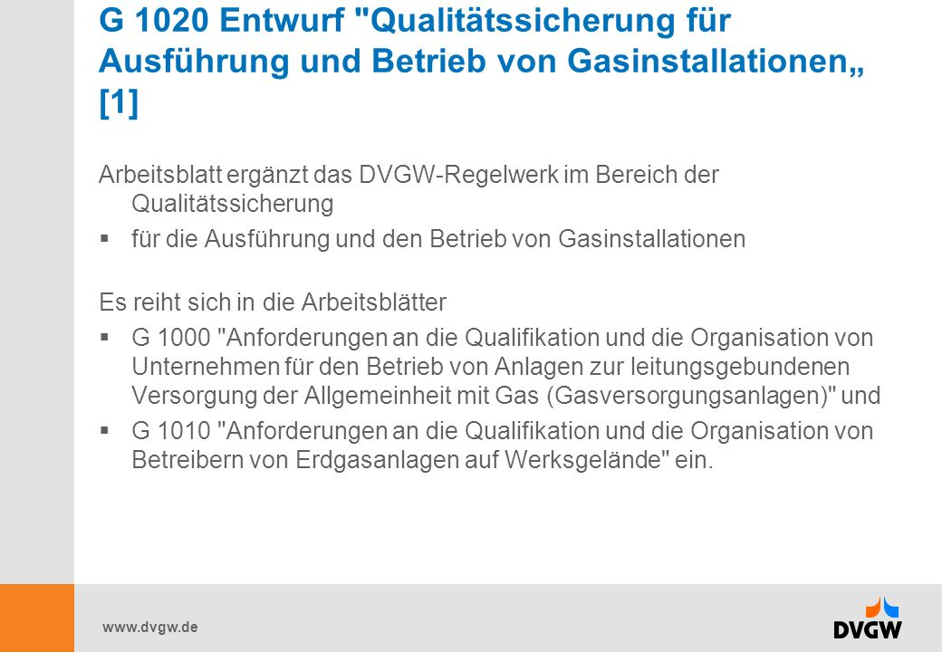 www.dvgw.de G 1020 Entwurf