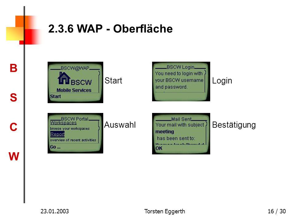 BSCWBSCW 23.01.2003Torsten Eggerth16 / 30 2.3.6 WAP - Oberfläche Start Login Auswahl Bestätigung