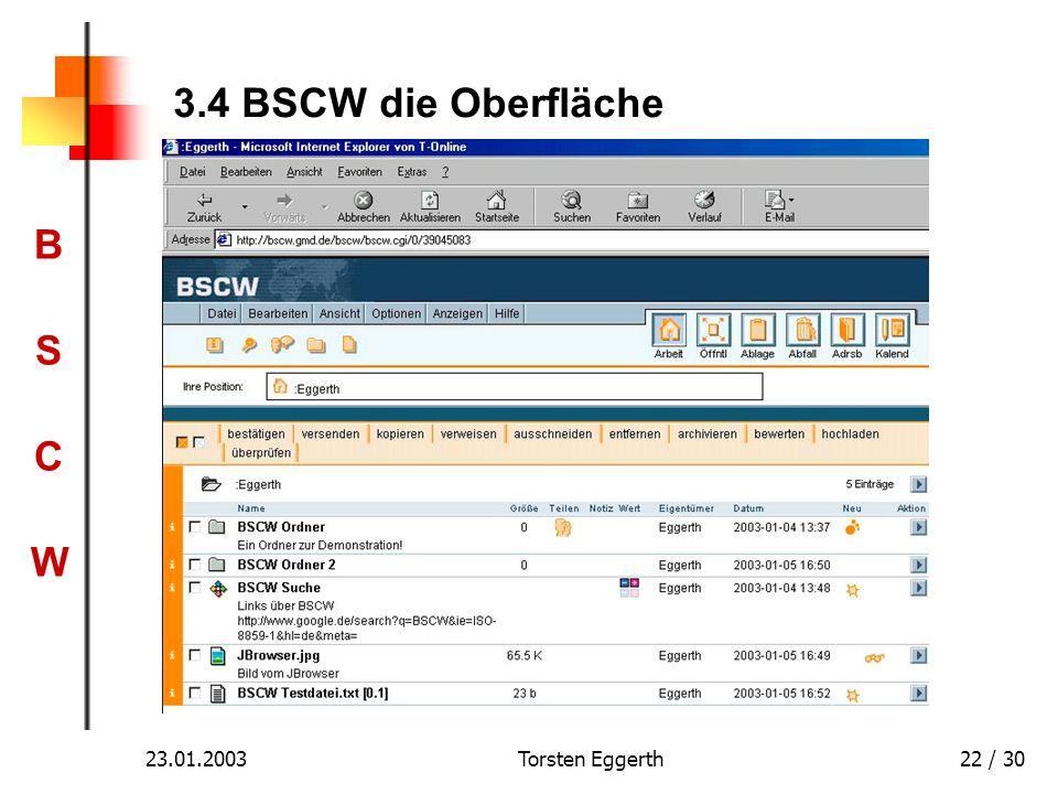 BSCWBSCW 23.01.2003Torsten Eggerth22 / 30 3.4 BSCW die Oberfläche