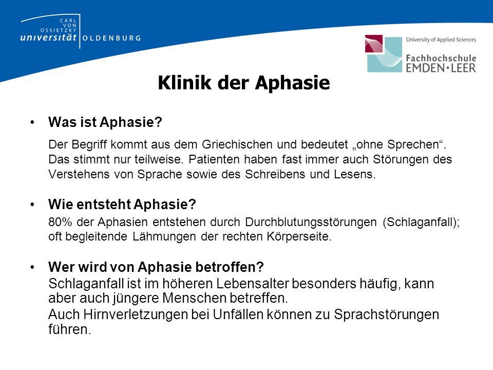 Klinik der Aphasie Was ist Aphasie.