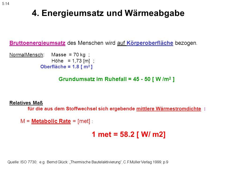 4. Energieumsatz und Wärmeabgabe Bruttoenergieumsatz des Menschen wird auf Körperoberfläche bezogen. NormalMensch: Masse = 70 kg ; Höhe = 1,73 [m] ; O