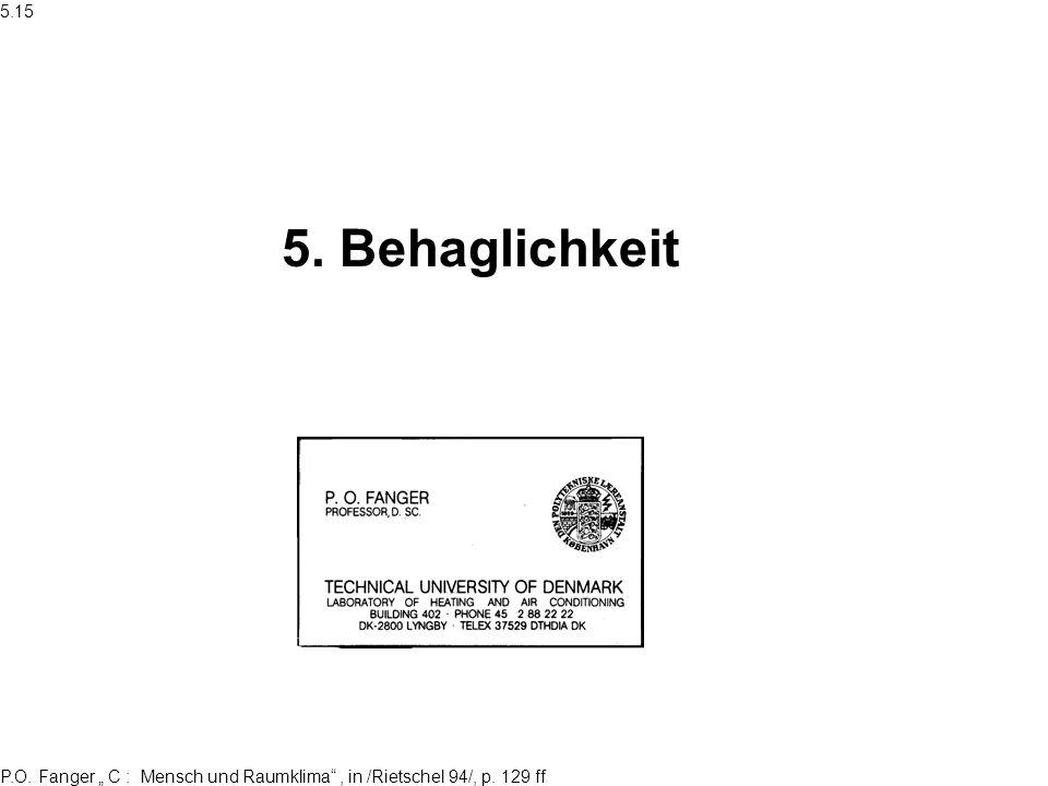 P.O. Fanger C : Mensch und Raumklima, in /Rietschel 94/, p. 129 ff 5. Behaglichkeit 5.15