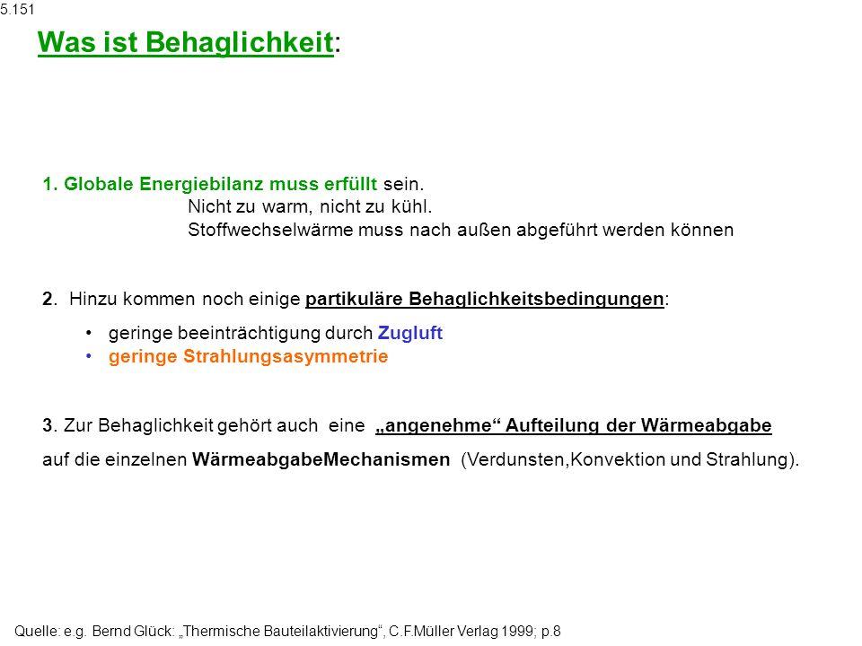 Quelle: e.g. Bernd Glück: Thermische Bauteilaktivierung, C.F.Müller Verlag 1999; p.8 1. Globale Energiebilanz muss erfüllt sein. Nicht zu warm, nicht