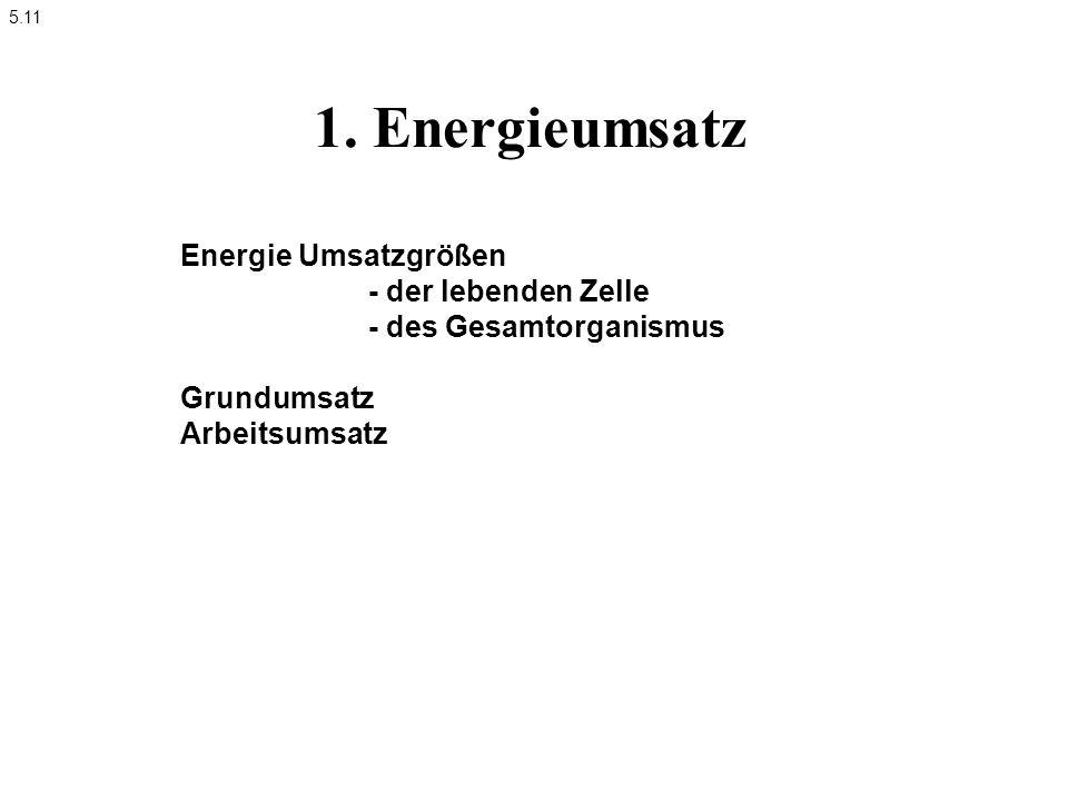 1. Energieumsatz Energie Umsatzgrößen - der lebenden Zelle - des Gesamtorganismus Grundumsatz Arbeitsumsatz 5.11