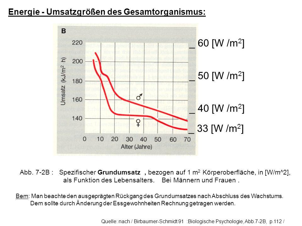 Energie - Umsatzgrößen des Gesamtorganismus: Abb. 7-2B : Spezifischer Grundumsatz, bezogen auf 1 m 2 Körperoberfläche, in [W/m^2], als Funktion des Le