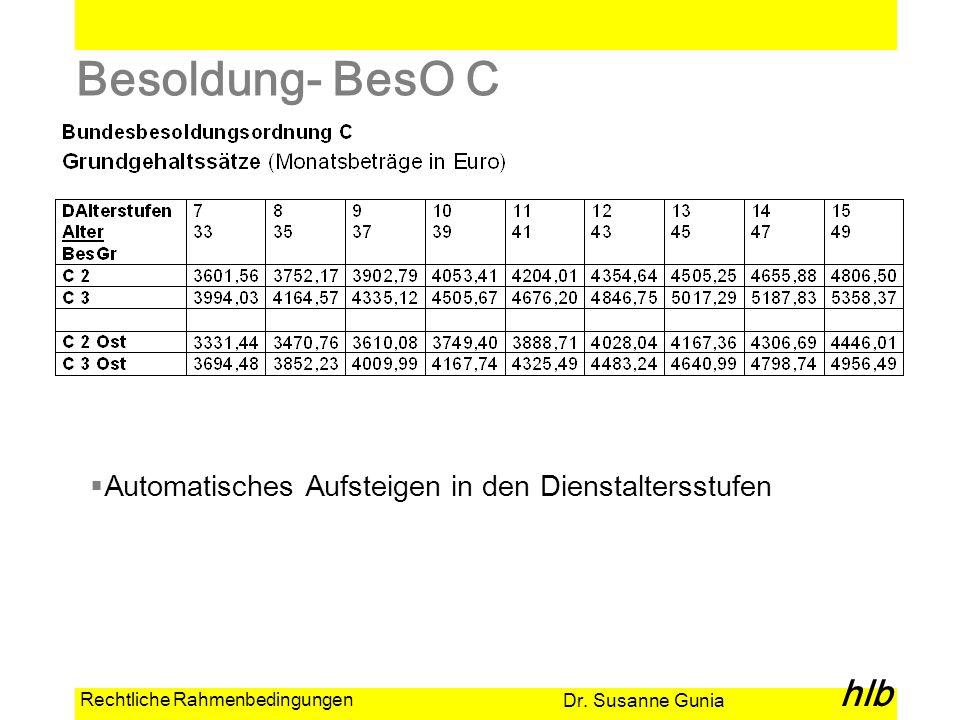 Dr. Susanne Gunia hlb Rechtliche Rahmenbedingungen Besoldung- BesO C Automatisches Aufsteigen in den Dienstaltersstufen