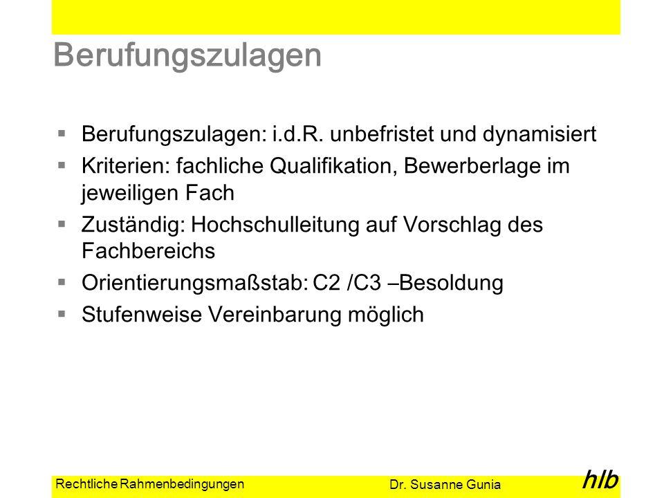Dr. Susanne Gunia hlb Rechtliche Rahmenbedingungen Berufungszulagen Berufungszulagen: i.d.R. unbefristet und dynamisiert Kriterien: fachliche Qualifik