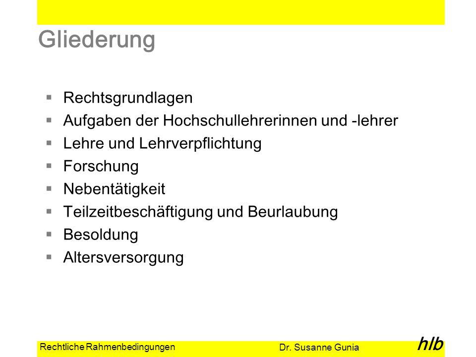 Dr. Susanne Gunia hlb Rechtliche Rahmenbedingungen Gliederung Rechtsgrundlagen Aufgaben der Hochschullehrerinnen und -lehrer Lehre und Lehrverpflichtu