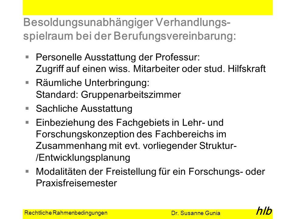 Dr. Susanne Gunia hlb Rechtliche Rahmenbedingungen Besoldungsunabhängiger Verhandlungs- spielraum bei der Berufungsvereinbarung: Personelle Ausstattun