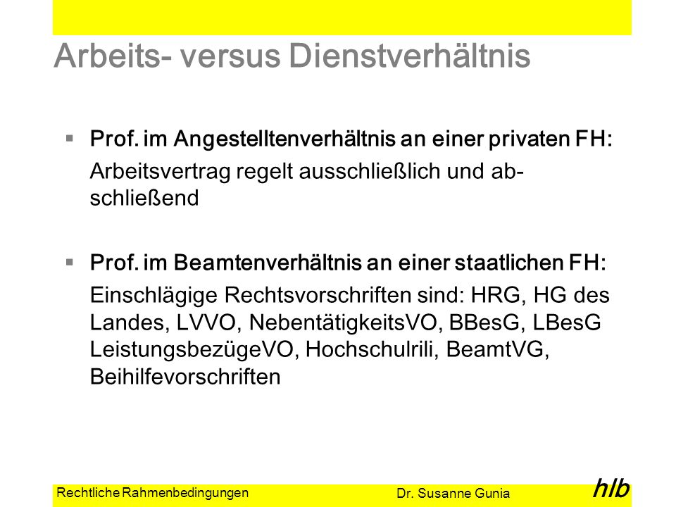 Dr. Susanne Gunia hlb Rechtliche Rahmenbedingungen Arbeits- versus Dienstverhältnis Prof. im Angestelltenverhältnis an einer privaten FH: Arbeitsvertr