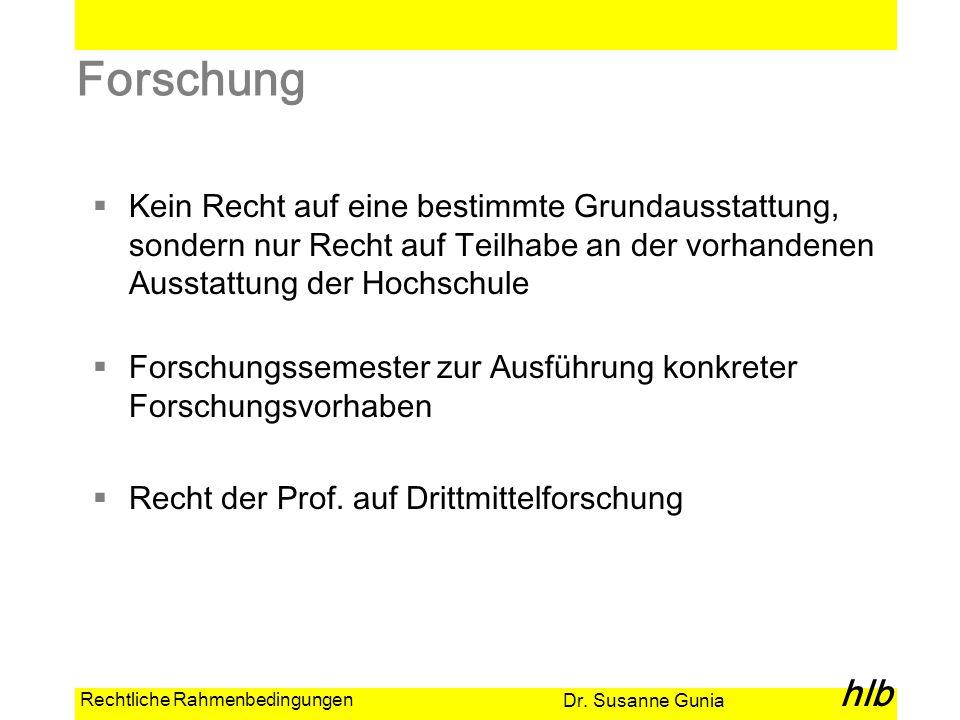 Dr. Susanne Gunia hlb Rechtliche Rahmenbedingungen Forschung Kein Recht auf eine bestimmte Grundausstattung, sondern nur Recht auf Teilhabe an der vor