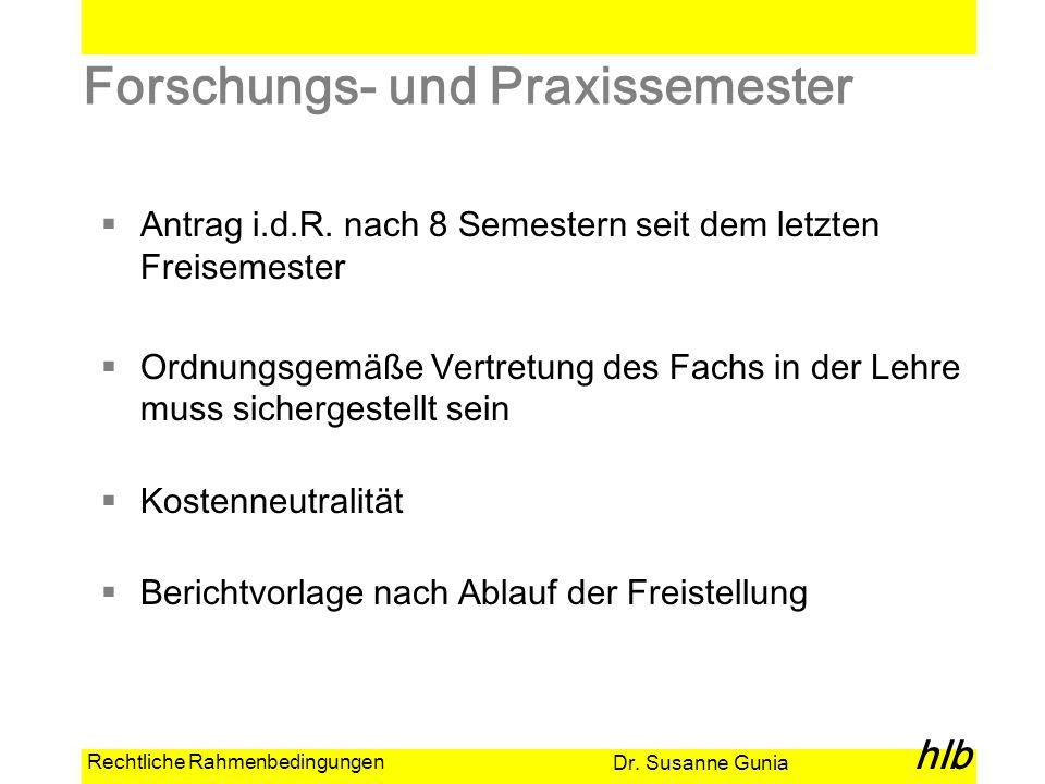 Dr. Susanne Gunia hlb Rechtliche Rahmenbedingungen Forschungs- und Praxissemester Antrag i.d.R. nach 8 Semestern seit dem letzten Freisemester Ordnung