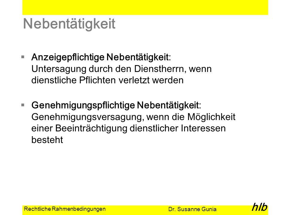 Dr. Susanne Gunia hlb Rechtliche Rahmenbedingungen Nebentätigkeit Anzeigepflichtige Nebentätigkeit: Untersagung durch den Dienstherrn, wenn dienstlich