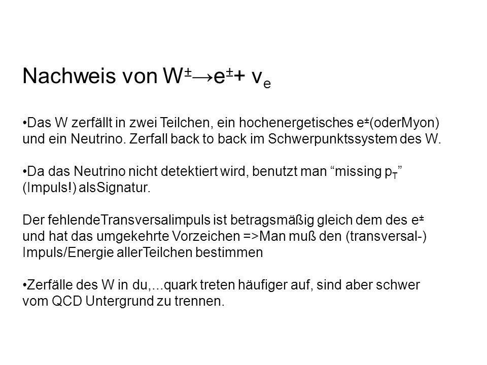 Nachweis von W ± e ± + ν e Das W zerfällt in zwei Teilchen, ein hochenergetisches e ± (oderMyon) und ein Neutrino. Zerfall back to back im Schwerpunkt